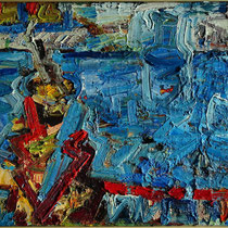Blauglas, Öl/Lw 50 x 70 cm, 2018
