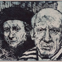 """Pablo trifft R."", Radierung, Aquatinta, ca 20 x 25 cm"