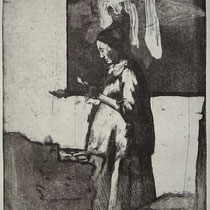 """nach Vermeer"", Radierung, Aquatinta, ca 24,5 x 20 cm"