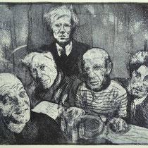 """""""Treffen mit Pablo"""", Radierung, Aquatinta, ca 30 x 40 cm"""