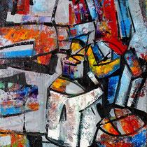 Druckerstillleben, Öl/Lw 100 x 90 cm, 2020