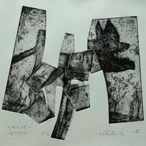 """""""Wende-Wolf""""  - Radierung, Materialdruck, Prägedruck; ca 25 x 30 cm"""