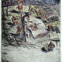 """Das Heft"" - Kaltnadel-Radierung - aquarelliert; 32 x 24,5 cm"