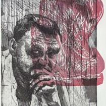Porträt  A. Hrdlicka,  Radierung, Aquatinta und Holzschnitt, ca 28 x 22,5 cm