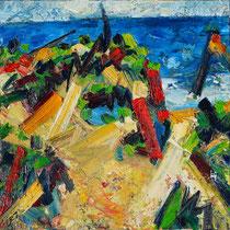 Strand bei A., Öl/Lw 100 x 100 cm, 2020