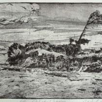 """ bei Ahrenshoop"", Radierung, Kaltnadel, Aquatinta, ca 19,5 x 29,5 cm"