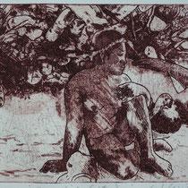 """paradise lost,2"" (nach P. Gauguin), Radierung, Aquatinta, ca 20 x 25 cm"
