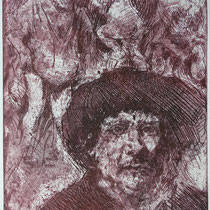 """""""Kritzel-Rembrandt"""", Radierung, Aquatinta, ca 24,5 x 20,5 cm"""