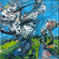Kirschbäume , Öl/Lw 60 x 60 cm, 2020