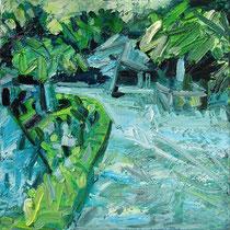 Kleines Gartenbild IV , Öl/Lw 60 x 60 cm, 2017
