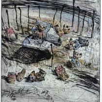 """Tiefflieger"" - Kaltnadel-Radierung - aquarelliert; 32 x 24,5 cm"