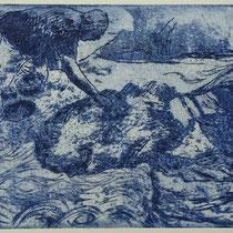 """Georg B. malt Vincent"", Radierung, Aquatinta, ca 20,5 x 24,5 cm"