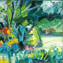 Kleines Gartenbild I , Öl/Lw 60 x 60 cm, 2017