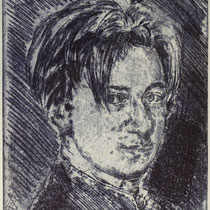 """David W.A.M."", Radierung, Aquatinta, ca 24,5 x 23,5 cm"