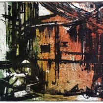 """Verfall"", Radierung, Aquatinta, (2Platten), ca 20 x 30 cm"