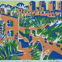 View, San Gimignano, Farbholzschnitt