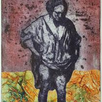 """Badende nach R.H.v.R."", Radierung, Aquatinta, Prägung, ca 29,5 x 19,5 cm"
