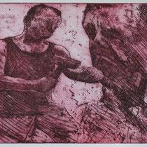 """Der Bildhauer A.H.."", Radierung, Aquatinta, ca 20 x 25 cm"