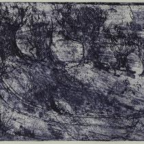 """Cecina-Garten"", Radierung, Aquatinta, ca 11,7 x 24,7 cm"