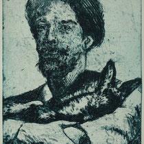 """""""J.E. erklärt dem toten Kaninchen die Kunst"""", Radierung, Aquatinta, ca 24,5 x 20,5 cm"""