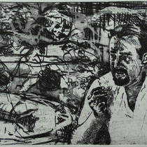 """""""Porträt E. Kienholz"""" Radierung, Aquatinta, ca 16 x 25 cm"""