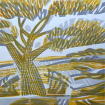Novemberland, Farbholzschnitt, 25 x 25 cm