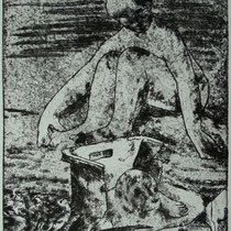 """Strandgut"", (n. Rodin: ""am Meer"") Radierung, ca 25 x 20 cm"