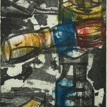 """""""Scherbe"""" - Radierung kombiniert mit farbigem Hochdruck; 24,5 x 20 cm"""