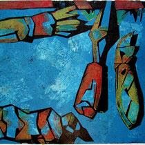 Blue screen, Farbholzschnitt