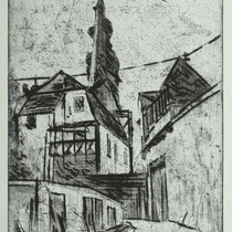 """""""Hinter dem Dom"""", Radierung, Aquatinta, Kaltnadel, ca 33 x 25 cm"""