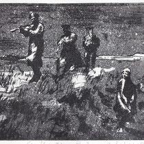 """ Film-still aus La Strada."", Radierung, Aquatinta, Variante"