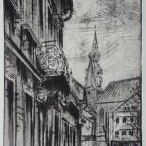 """der Balkon"", Radierung, Aquatinta, ca 24,5 x 16,5 cm"