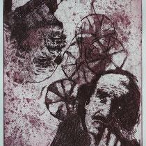 """Jean Tinguely"", Radierung, Aquatinta, ca 24,5 x 20,5 cm"