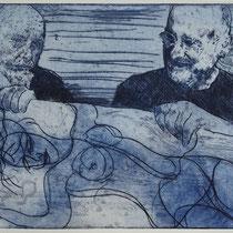 """Drahtseilakt"", Radierung, Aquatinta, ca 20,5 x 24,5 cm"