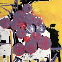 Artischockenblüten, Farbholzschnitt