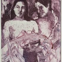"""paradise lost"" (nach P. Gauguin ), Radierung, Aquatinta, ca 24,5 x 20,5 cm"