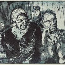 """Selfie mit Malle B."", Radierung, Aquatinta, ca 24,5 x 29 cm"