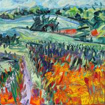 Saar-land-schaft, Öl/Lw 100 x 100 cm, 2017