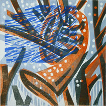 Dezemberhorn, Farbholzschnitt, 25 x 25 cm
