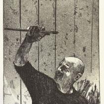"""Der Maler (JD)"" Radierung, Aquatinta, ca 20 x 13 cm"