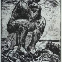 """""""Der Nachdenker"""", (n. Rodin) Radierung, ca 25 x 20 cm"""