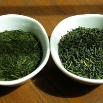 右が釜炒り茶、左が蒸し茶