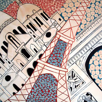 PARIJS uit de serie Stadssonnetten - acrylverf op doek -  90 x 120  - houten baklijst -verkoopprijs € 1195
