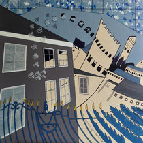M.C. ESCHER uit de serie VERHAALPORTRETTEN  - acrylverf op doek - 70 x 70 - houten baklijst - verkoopprijs € 795