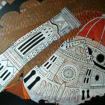 FLORENCE uit de serie Stadssonnetten - acrylverf op doek -  90 x 120  - houten baklijst - verkoopprijs € 1195