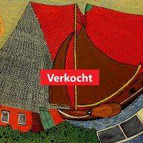 Fryslân, het dak in taal en landschap  - acrylverf op doek - 40 x 60 -  houten baklijst - verkoopprijs  € 295