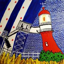 VLIELAND uit de serie Friese eilanden - acrylverf op doek - 30 x 30 - verkoopprijs € 150