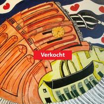 WORKUM uit de serie FRIESE ELFSTEDEN - acrylverf op doek - 50 x 50 - verkoopprijs € 300
