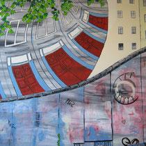 BERLIJN uit de serie Stadssonnetten - acrylverf op doek -  90 x 120  - houten baklijst - verkoopprijs € 1195