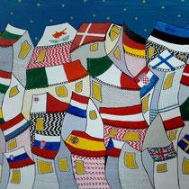 EUROPESE UNIE - acrylverf op doek -  90 x 120  - houten baklijst - verkoopprijs € 1195
